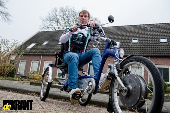 Diederik with his electric tricycle