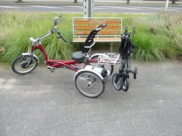 A red version of the Easy Rider tricycle