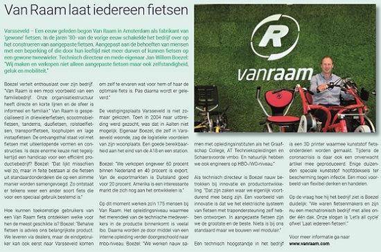 Van Raam with interview in Achterhoek Vacature job vacancy newspaper
