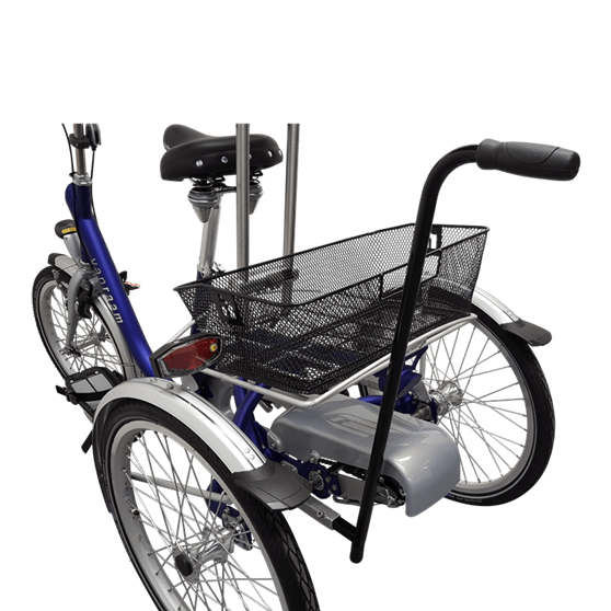Tricycle with basket and pushbar