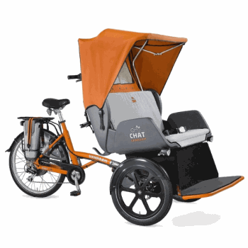 Chat Rikscha Transportfahrrad orange mit Verdeck