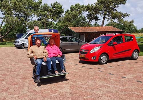 Rental of Van Raam adapted bicycles at De Bever Chat rickshaw transport bike