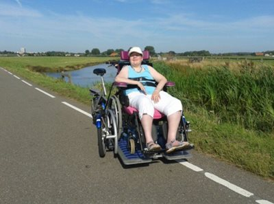 Van Raam wheelchair bike in the summer heat