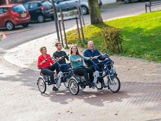Double rider cycle trailer FunTrain suitable for healthcare organisations and to cycle with multiple clients