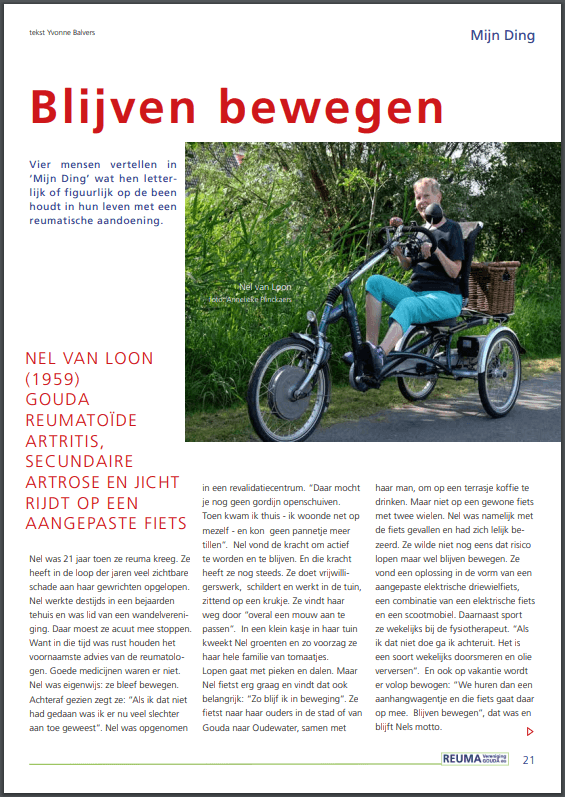 cycling with rheumatism on a Van Raam tricycle in Dutch magazine