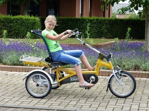 A yellow Easy Rider Junior tricycle