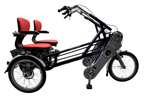 Side-by-side tandem with pedal support power assitance