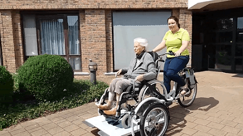 VeloPlus wheelchair bicycle at care center in Belgium