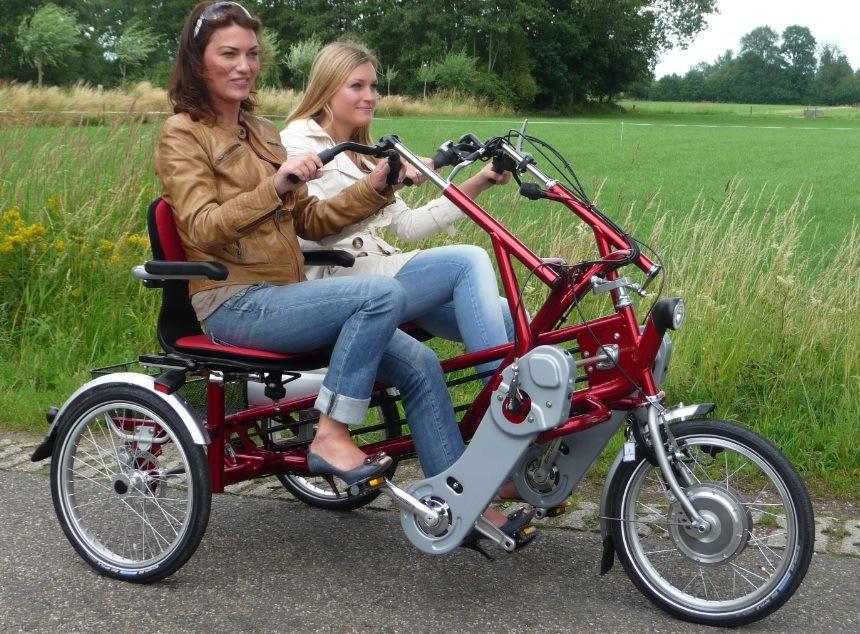 electric tandem bike fun2go van raam. Black Bedroom Furniture Sets. Home Design Ideas