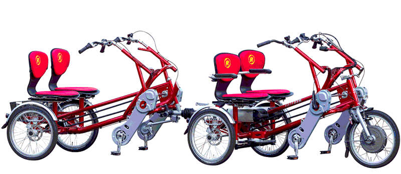 Double rider cycle with trailer