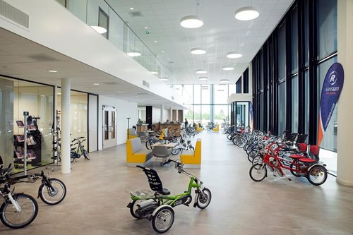 showroom a manufacturer of special needs bikes Van Raam in the Netherlands