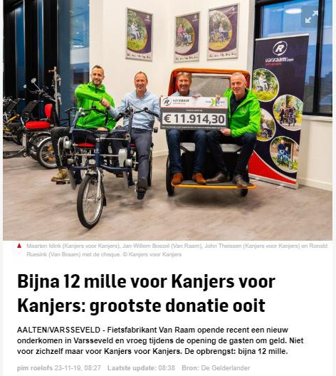 De Gelderlander Van Raam donates cheque to the Kanjers voor Kanjers Foundation
