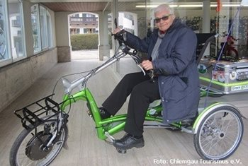 Gunda Krauss with Easy Rider tricycle with back seat