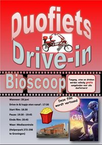 buddy bike drive in cinema with Van Raam Fun2Go side-by-side tandem