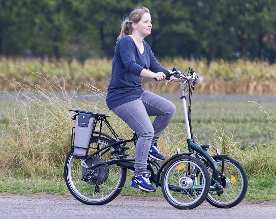 Viktoria: tricycle with two wheels in front and one rear wheel for young adults.