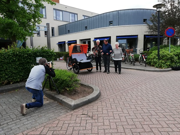 Rickshaw cargo bike Chat photo shoot Van Raam at Azora Debbeshoek