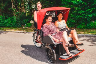 end users are cycling on the Chat rickshaw bike in Denmark