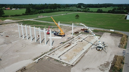 Placing concrete piles