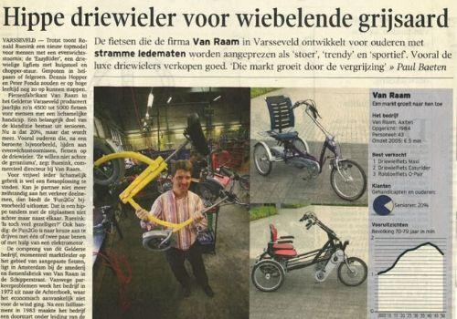 Van Raam  special needs bikes in Financieel dagblad 18.08.2006