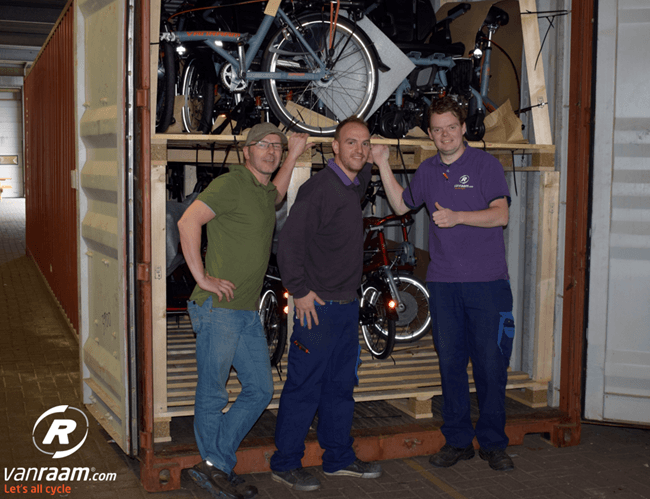 Container loaded with adaptive bicycles (Van Raam)