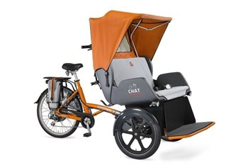 Chat rickshaw transport bike orange with canopy
