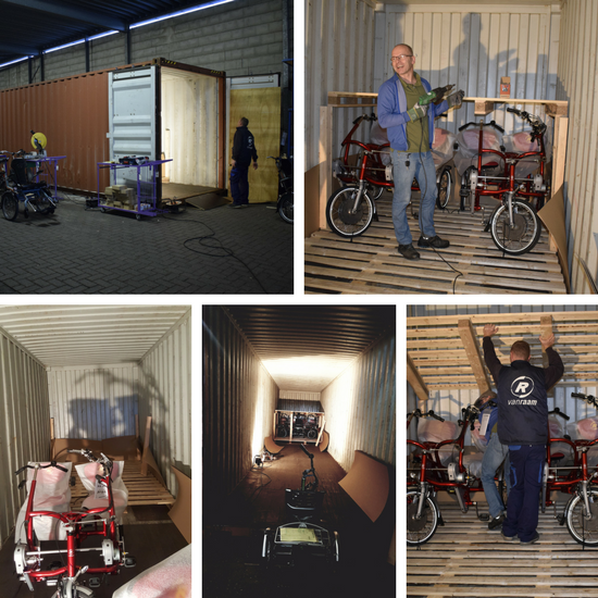 Loading adaptive bikes for the USA