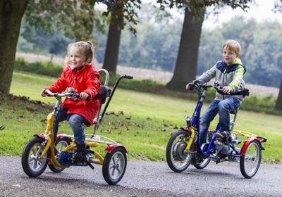 Cycling with back pain Van Raam tricycles for children