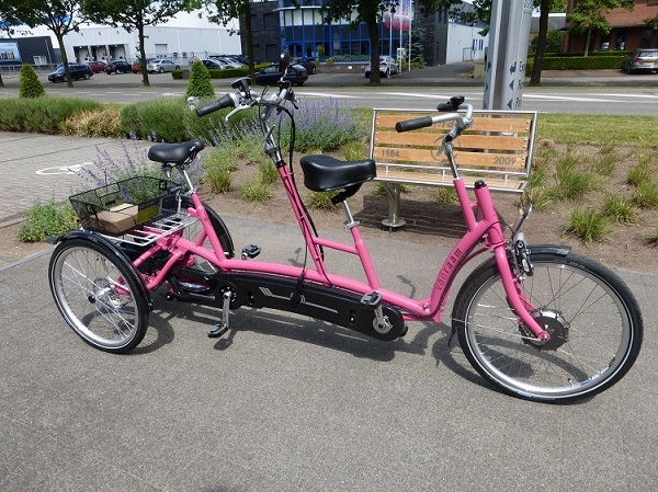 Van Raam three-wheel tandem Twinny Plus in Pink