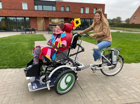 New Van Raam VeloPlus wheelchair bikes on the road at Schoonderhage