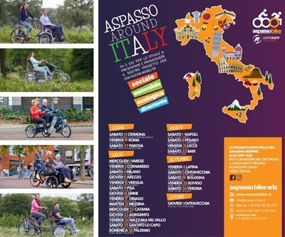 Aspasso bike with Van Raam special bikes on Italy tour