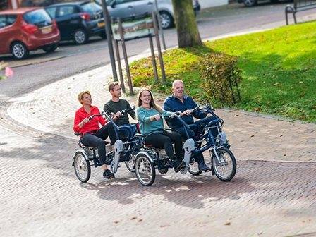 Van Raam side-by-side tandem and trailer for limited mobility