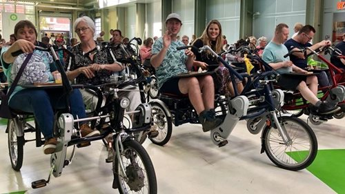 Drive-in cinema for buddy bikes with Van Raam adapted bikes