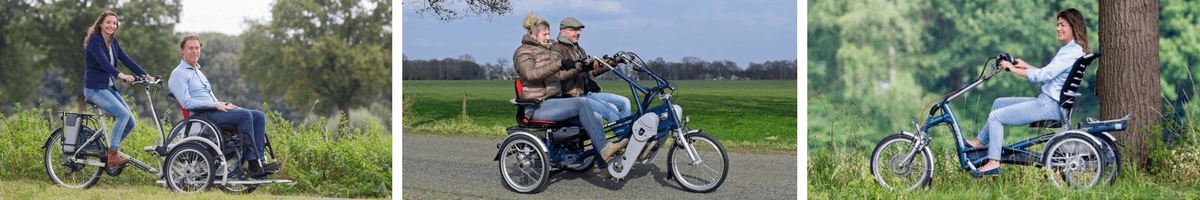 Wheelchair bike, side by side tandem and tricycle
