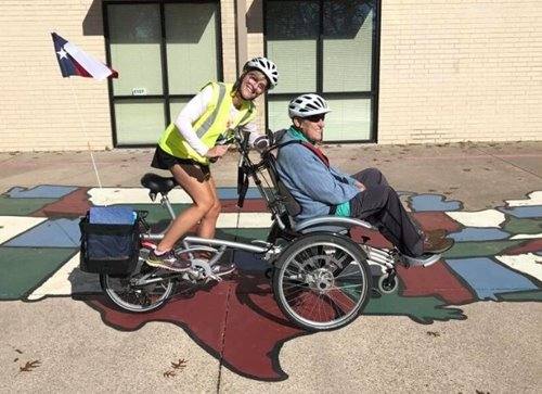 Cycling with senior citizen on the OPair wheelchair bike