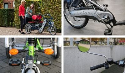 Video most sold options for a Van Raam bike rotatable seat turn signal stationary crank mirror