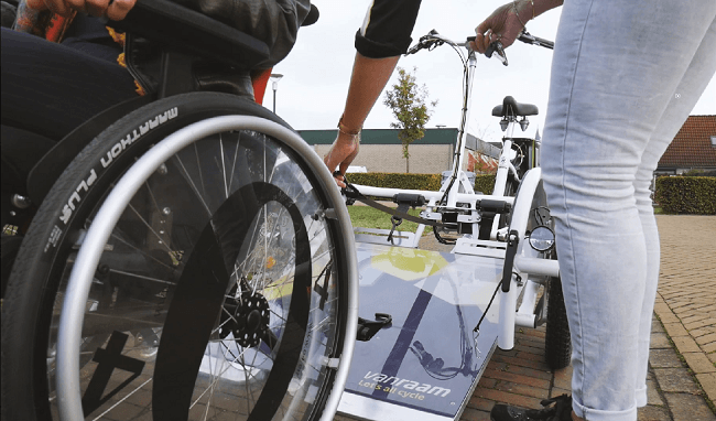 New option winch system for wheelchair bike VeloPlus