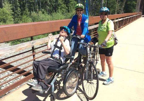 Sequim wheelers with Van Raam OPair wheelchair bike