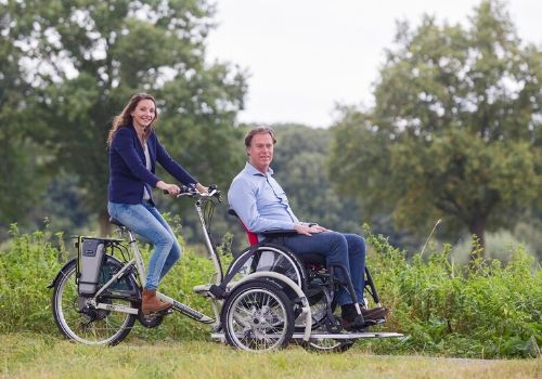 The wheelchair bike for a wheelchair user by Van Raam