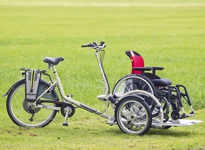 VeloPlus wheelchair bike by Van Raam to transport a wheelchair