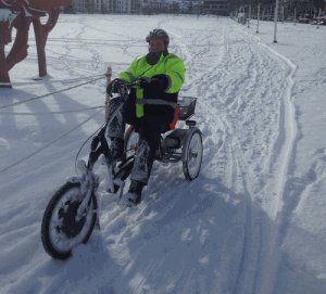 Easy rider tricycle cycling through snow