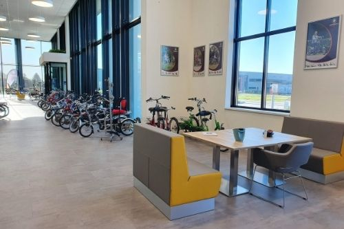 Showroom with special needs bikes by Van Raam