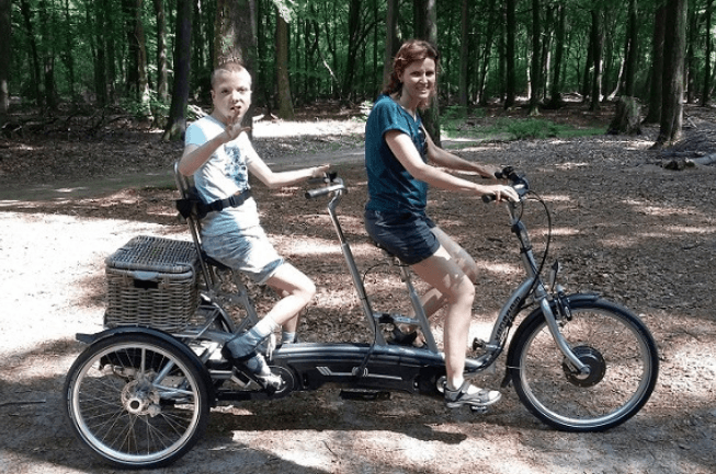 cycling together with a Van Raam tricycle tandem Twinny Plus