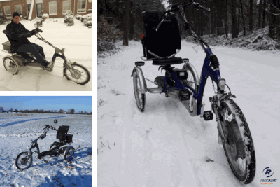 Cycling with a Van Raam tricycle in the snow